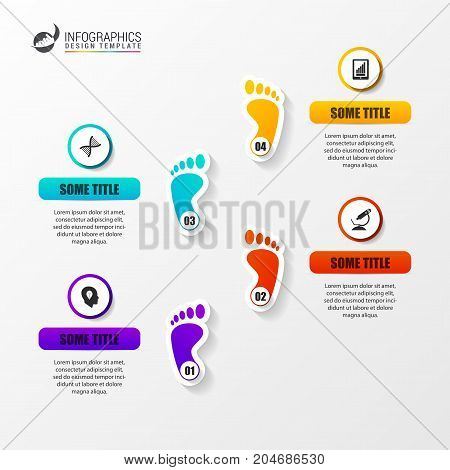 Timeline infographics design template with foots. Vector illustration