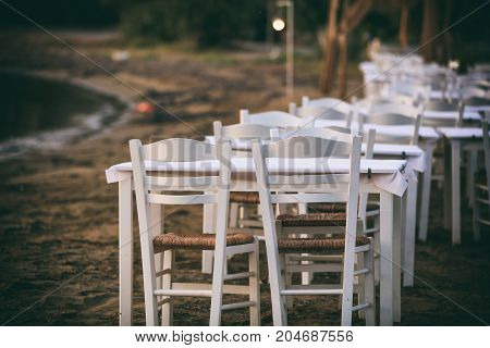 Greek Tavern Tables By The Sea