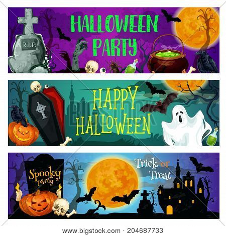 Halloween holiday spooky party banner set. Horror ghost and pumpkin lantern, bat and skeleton skull, haunted house and cemetery gravestone with coffin and witch cauldron for invitation flyer design