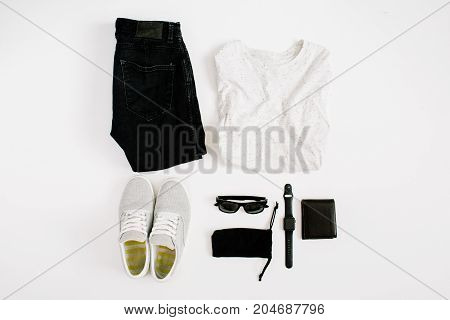 Male trendy fashion clothes and accessories collage on white background. Flat lay top view.