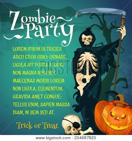 Halloween zombie party poster of october holiday celebration template. Spooky grim reaper with cape and death scythe, Halloween carving pumpkin lantern and skeleton skull for invitation banner design
