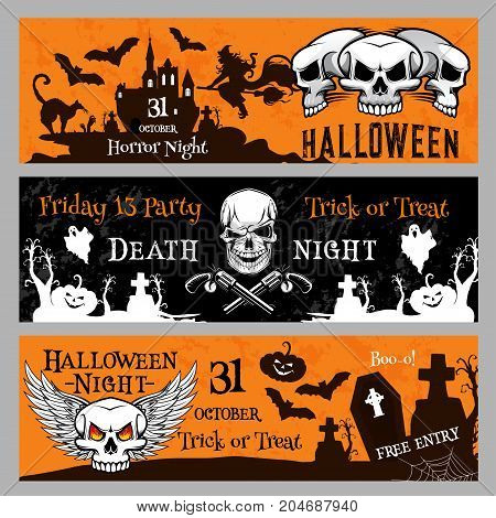 Happy Halloween Friday 13 night party banner invitation template. Vector design of pumpkin lantern, dead zombie skull and witch cat on moon for Halloween spooky trick or treat holiday celebration