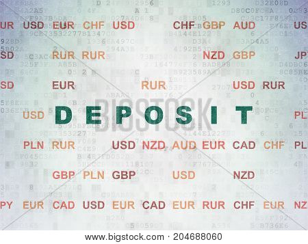 Money concept: Painted green text Deposit on Digital Data Paper background with Currency