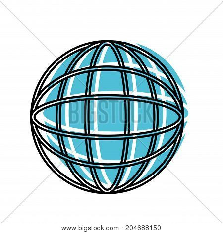 globe world icon watercolor silhouette with thick contour vector illustration