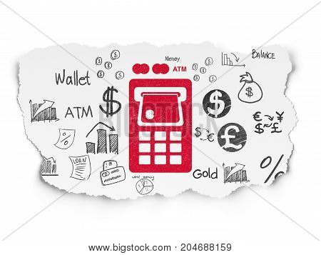 Banking concept: Painted red ATM Machine icon on Torn Paper background with  Hand Drawn Finance Icons