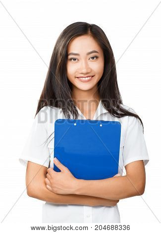 Portrait Of Young Asian Woman With Folder In Hands