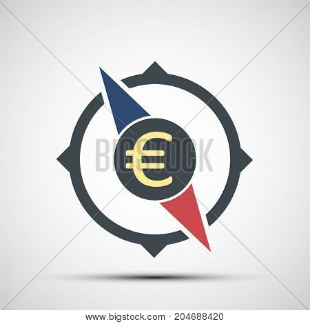 Compass icon with euro currency sign. World stock exchange. Logo of business and money transfers. Stock vector graphics.