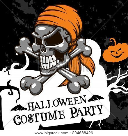 Halloween costume party invitation poster of skeleton skull on crossbones and pumpkin lantern. Vector horror scary zombie dead skull design template for Halloween trick or treat night holiday