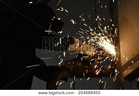 worker wear safety mask cutting steel for background
