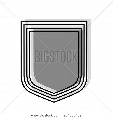 shield icon silhouette in gray watercolor silhouette with thick contour vector illustration