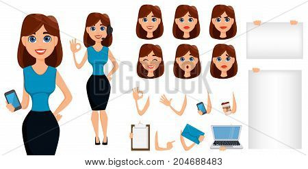 Business woman cartoon character creation set. Cute brunette businesswoman in smart casual clothes blue style. Build your personal design - stock vector