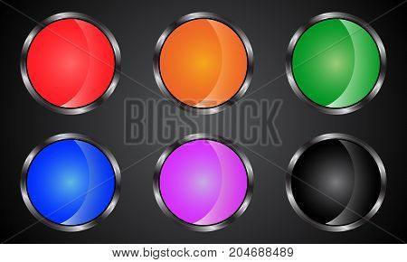 Set of colored web buttons. Buttons in metal style.