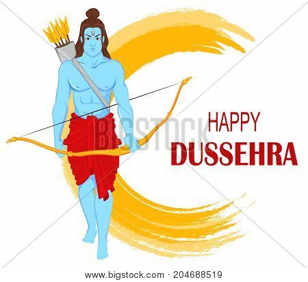 Lord Rama with bow and arrows for Dussehra Navratri festival of India. Vector illustration for holiday