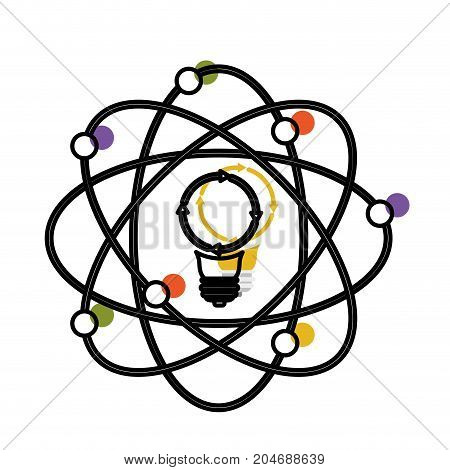 light bulb and atom around watercolor silhouette with thick contour vector illustration