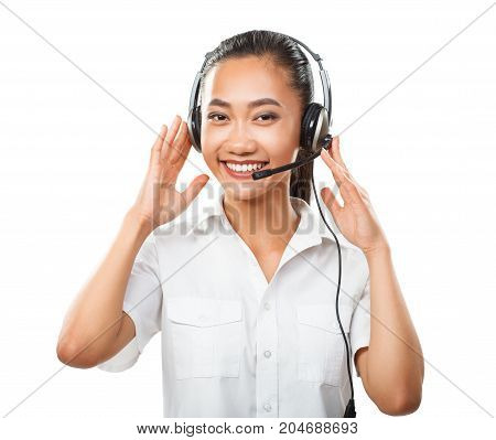 Customer Service Operator Young Asian Woman With Headset Isolated