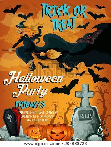 Halloween party poster template of horror night and autumn holidays celebration. Spooky bat and witch flying over cemetery or graveyard with pumpkin lantern, coffin and tombstone for banner design