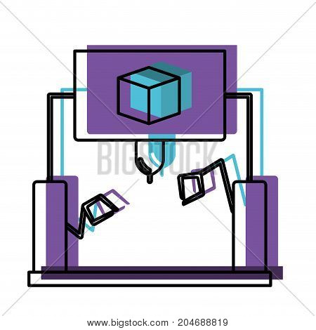 cube design with robotic hands watercolor silhouette with thick contour vector illustration