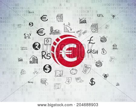 Money concept: Painted red Euro Coin icon on Digital Data Paper background with  Hand Drawn Finance Icons