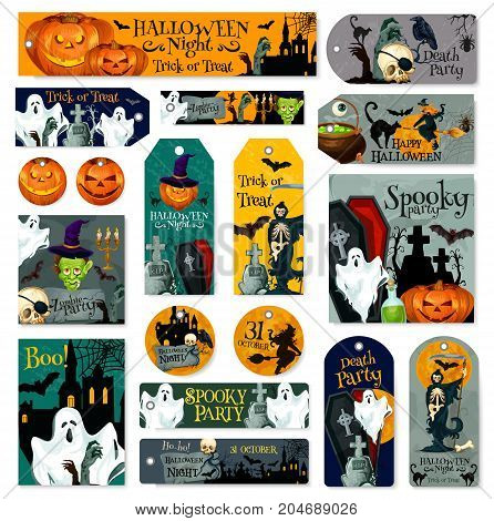 Halloween trick or treat night party icons or invitation cards templates. Vector design set of Halloween pumpkin, witch in moon and grave tomb, black bat or cat and spooky ghost or dead zombie coffin