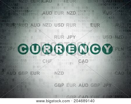 Currency concept: Painted green text Currency on Digital Data Paper background with Currency