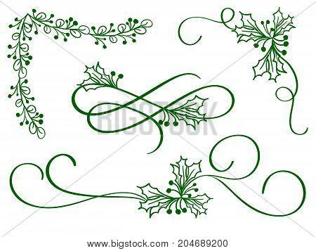 set of green christmas calligraphy flourish art with vintage decorative whorls for design on white background. Vector illustration EPS10.