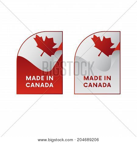 Stickers Made in Canada. Waving flag. Vector illustration.