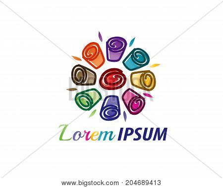 colorful rolls ice cream logo, icon design, isolated on white background.