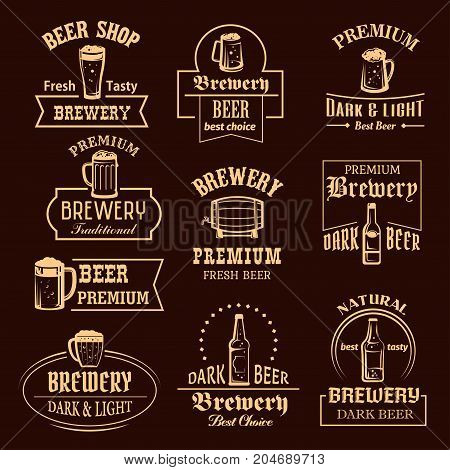 Beer icons for brewery pub or bar of beer bottles or wood barrels and ale pint mugs with frothy foam. Vector isolated symbols or premium quality craft or draught beer for brewery sign templates
