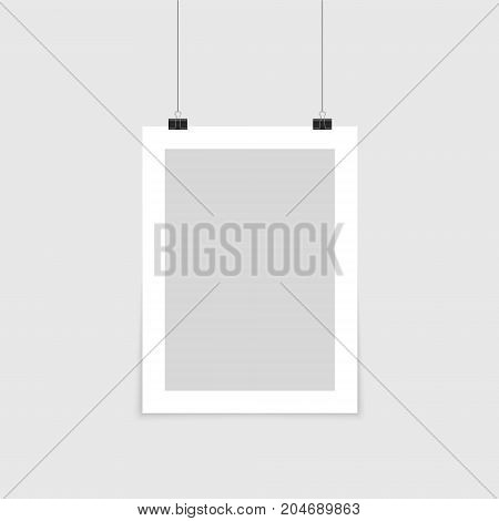 Poster mockup. Vector mock up blank paper hanging on office clip. Paper gallery set on white background