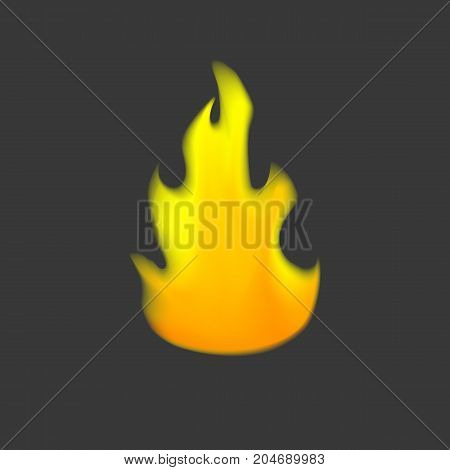 Yellow and orange vector fire symbol on a gray background. Flame logo for web design colorful fire icon