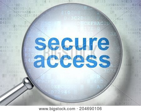 Safety concept: magnifying optical glass with words Secure Access on digital background, 3D rendering