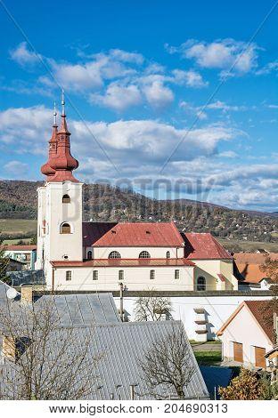 Roman catholic church in Divin village Slovak republic. Religious architecture. Cultural heritage.