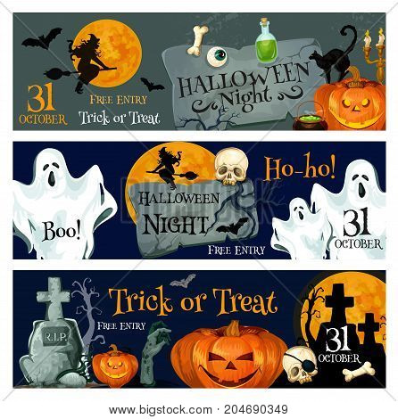 Halloween holiday spooky ghost and pumpkin banner. Halloween lantern and bat, scary witch and skeleton skull, zombie grave, black cat and orange full moon for horror party invitation flyer design