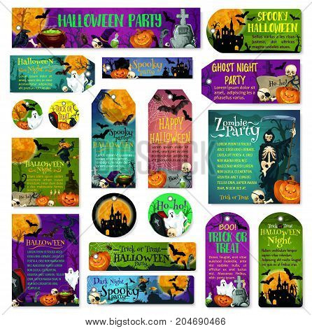 Happy Halloween spooky night party and trick or treat greeting cards and posters design of scary ghost and pumpkin on graveyard tombstone. Vector Halloween holiday zombie skull and tomb grave