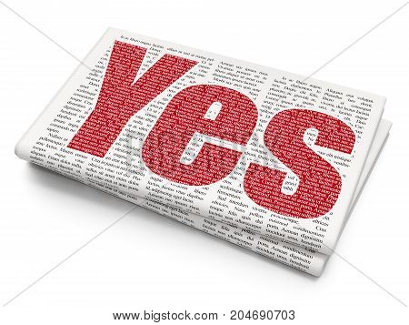 Business concept: Pixelated red text Yes on Newspaper background, 3D rendering