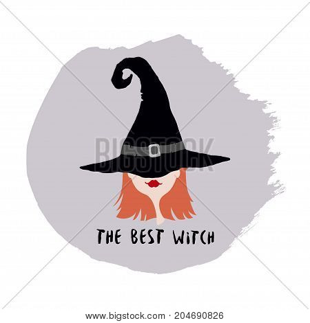 Poster with witch in hat. Designed with text The best witch. Good for Halloween decor.
