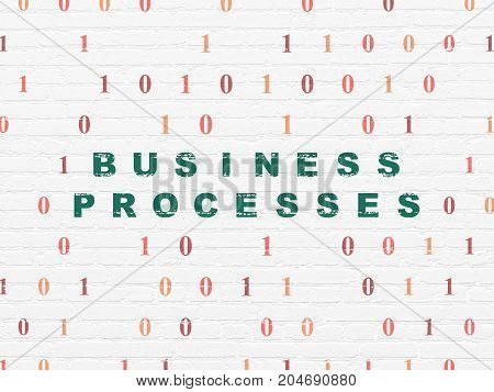 Business concept: Painted green text Business Processes on White Brick wall background with Binary Code