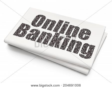 Finance concept: Pixelated black text Online Banking on Blank Newspaper background, 3D rendering