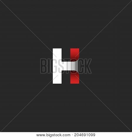 Letter H Logo. A Symbol With A Gradient Of White And Red Paper Tape Material Design Conceptual Idea.