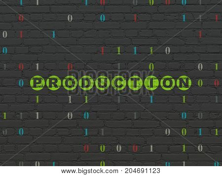 Finance concept: Painted green text Production on Black Brick wall background with Binary Code