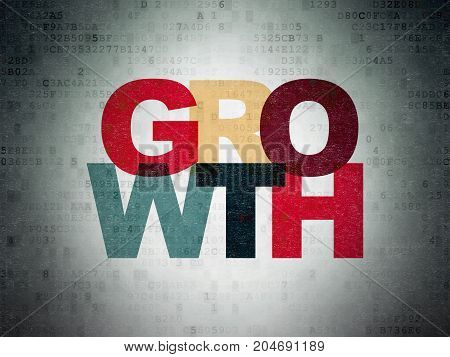 Business concept: Painted multicolor text Growth on Digital Data Paper background