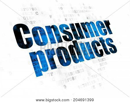 Business concept: Pixelated blue text Consumer Products on Digital background