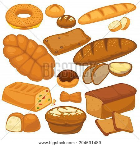 Bread flat icons set for bakery shop or patisserie. Vector isolated wheat bagel, rye croissant or bagel and muffin, ciabatta and cereal flatbread or pudding cake sweet dessert for baked pastry sorts