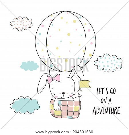 Little bunny in a hot air balloon. Cartoon vector illustration for kids. T-shirt graphic for kid's clothing. Use for print design surface design fashion kids wear