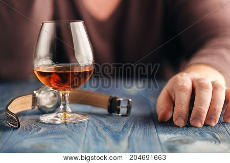 Man Abusing Alcohol For Relaxing, Whisky In Glass