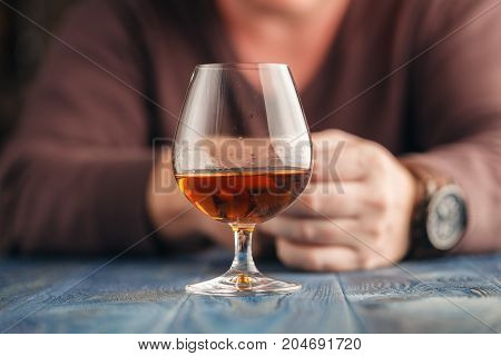 Lonely Man Drink Alcohol On Kitchen, Alcoholism Abuse