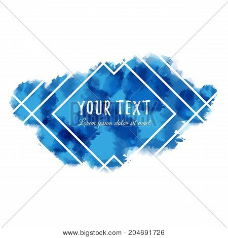 Blue abstract aquarelle background with geometric pattern and place for text. Vector illustration.