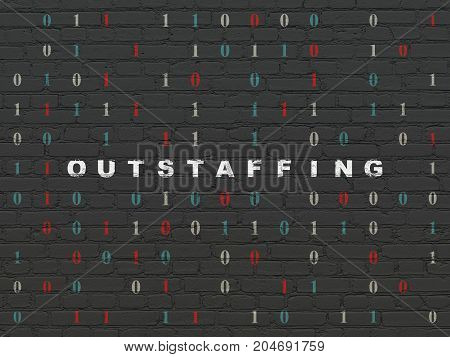 Finance concept: Painted white text Outstaffing on Black Brick wall background with Binary Code