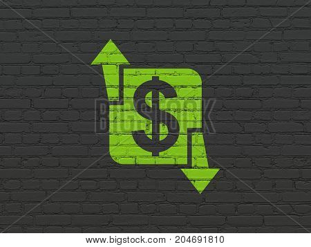 Finance concept: Painted green Finance icon on Black Brick wall background