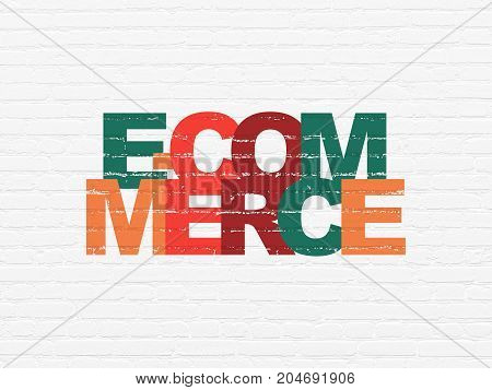 Finance concept: Painted multicolor text E-commerce on White Brick wall background